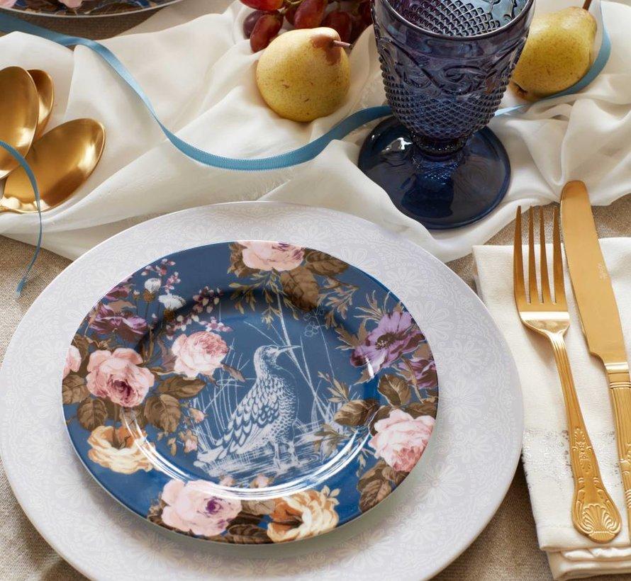 Katie Alice Wild Apricity Ontbijtbord,blauw met vogel en bloemmoetief 19cm