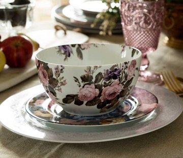 Katie Alice Wild Apricity; Compleet Engels Jachtservies met bloemen Ontbijtschaal met bloemenmotief, Cerealbowl