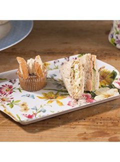 Katie Alice English Garden; Compleet Engels Porseleinen servies met bloemen Dienblad middelgroot