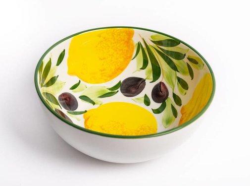 Zisensa, private collection Hoge ronde schaal met citroenen & olijven