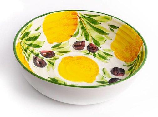 Zisensa, private collection Grote ronde schaal met citroenen & olijven