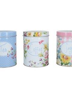 Katie Alice English Garden; Compleet Engels Porseleinen servies met bloemen set van 3 voorraadblikken,coffee ,tea & sugar