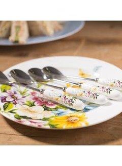Katie Alice English Garden; Compleet Engels Porseleinen servies met bloemen Set van 4 theelepels