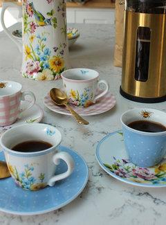 Katie Alice English Garden; Compleet Engels Porseleinen servies met bloemen Espresso kop en schotels, set van 4 stuks