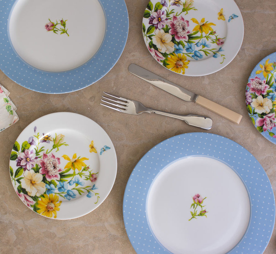 Ontbijtbord, blauwe stippen