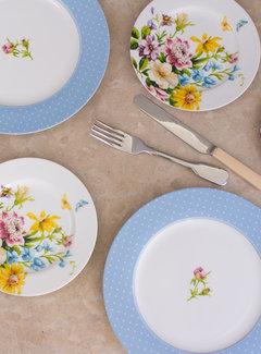 Katie Alice English Garden; Compleet Engels Porseleinen servies met bloemen Ontbijtbord, wit met bloemen