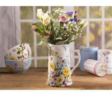 Katie Alice English Garden; Compleet Engels Porseleinen servies met bloemen grote kruik/schenkkan