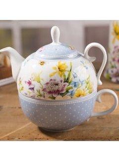 Katie Alice English Garden; Compleet Engels Porseleinen servies met bloemen tea for one- eenpersoons theepot
