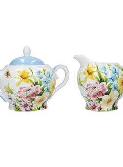 Katie Alice English Garden; Compleet Engels Porseleinen servies met bloemen Suiker en melkkannetje