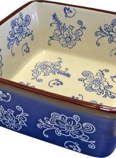 Lavandoux-Ceramics; Prachtige ovenschalen Ovenschaal Floral Lace Blue- vierkant 20cm.