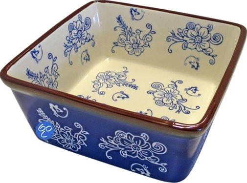 Lavandoux-Ceramics; Prachtige ovenschalen Copy of Lavandoux; Floral Lace Blue Ovenschaal - rechthoek