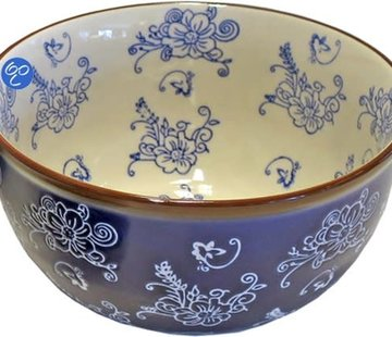 Lavandoux-Ceramics; Prachtige ovenschalen Lavandoux; Floral Lace Blue Kom - Ø14,5 cm
