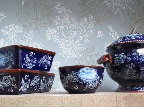 Lavandoux-Ceramics; Prachtige ovenschalen Copy of Lavandoux; Floral Lace Blue Ovenschaal - vierkant