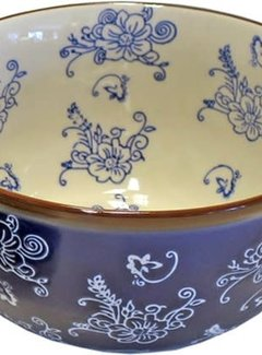 Lavandoux-Ceramics; Prachtige ovenschalen OvenKom Floral Lace Blue blauw - Ø17cm