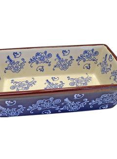Lavandoux-Ceramics; Prachtige ovenschalen Ovenschaal Floral Lace Blue  - rechthoek