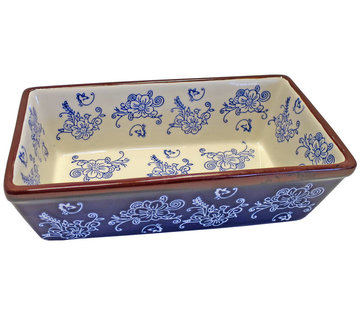 Lavandoux-Ceramics; Prachtige ovenschalen Floral Lace Blue Ovenschaal - rechthoek