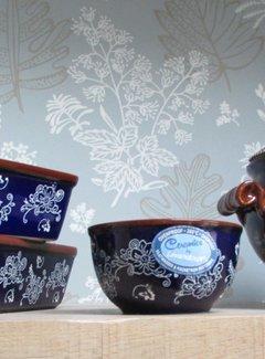 """Lavandoux-Ceramics Soepterrine blauw """"lace"""" aardewerk"""