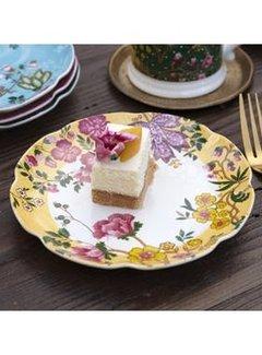 Katie Alice Eastern Flora Gebaksbordje mosterd geel, gedecoreerd met vrolijk bloemenmotief