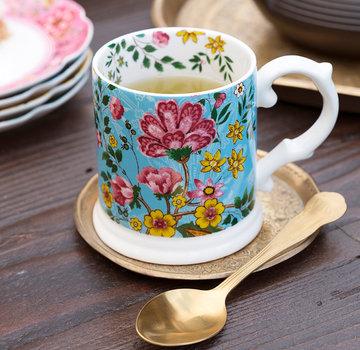 Katie Alice Eastern Flora Mok Teal, turquoise, gedecoreerd met vrolijk bloemenmotief
