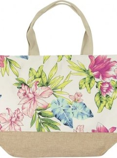 Zisensa, private collection Strandtas Tropische Bloemen Wit
