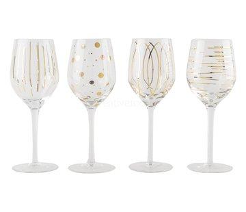 Mikasa Serviezen Mikasa Witte wijn glazen Cheers Metallic Gold set/4
