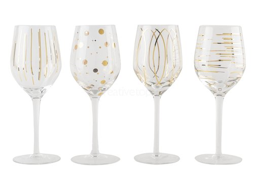 Mikasa Mikasa Witte wijn glazen Cheers Metallic Gold set/4