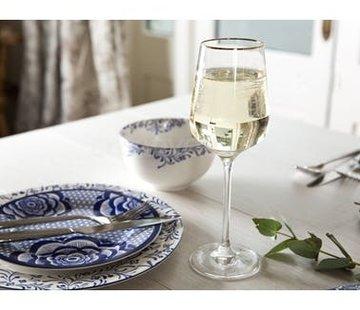 V&A The Cole Collection Set/4 witte wijnglazen geetste bloemen & gouden rand