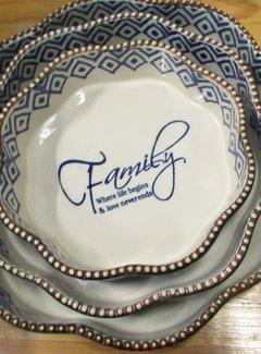 """Lavandoux-Ceramics; Prachtige ovenschalen Ronde blauwe ovenschaal """"Family"""" -L-"""
