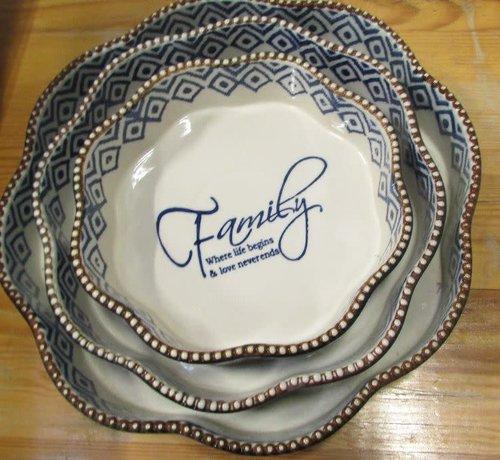 Lavandoux-Ceramics; Prachtige ovenschalen Copy of Ovenschaal Rond Family - blauw -m-