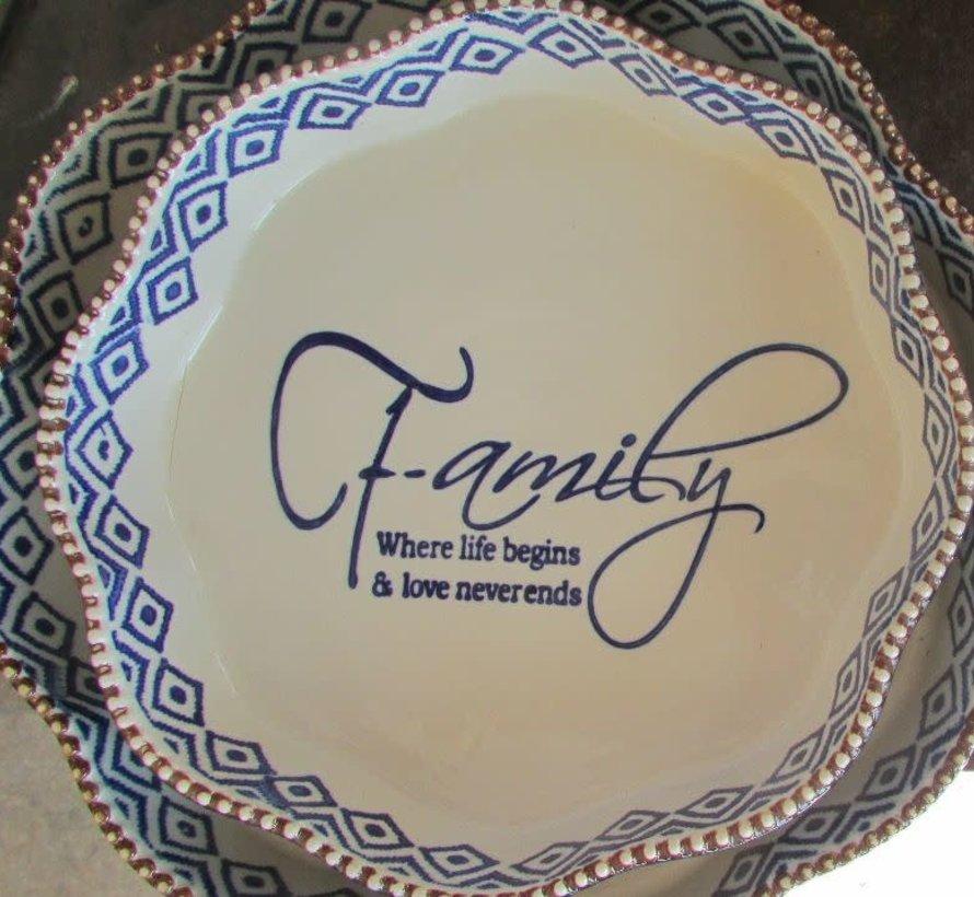 "Ronde blauwe ovenschaal ""Family"" -L-"