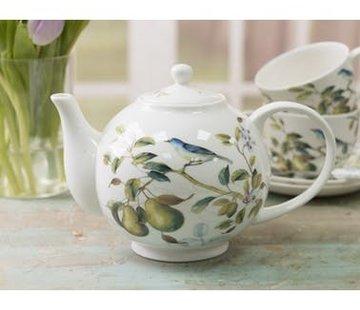 The English Table; Engels porselein met vogels Lente Fruit Theepot