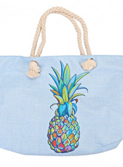 Zisensa, private collection Unieke woonaccessoires Strandtas Ananas blauw