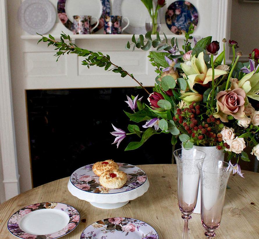 Katie Alice Wild Apricity Ontbijtbord grijs met kanten motief 19cm