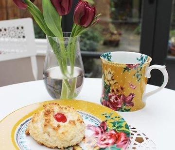 Katie Alice Bohemian Spirit; Engels wit porseleinen servies geel met bloemen Katie Alice Bohemian Spirit mok mosterdkeurig