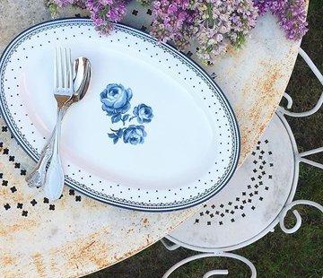 Katie Alice Vintage Indigo; Compleet Engels Servies Blauw Wit Ovale serveerschaal