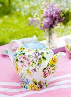 Katie Alice English Garden; Compleet Engels Porseleinen servies met bloemen Theepot, 6 kops