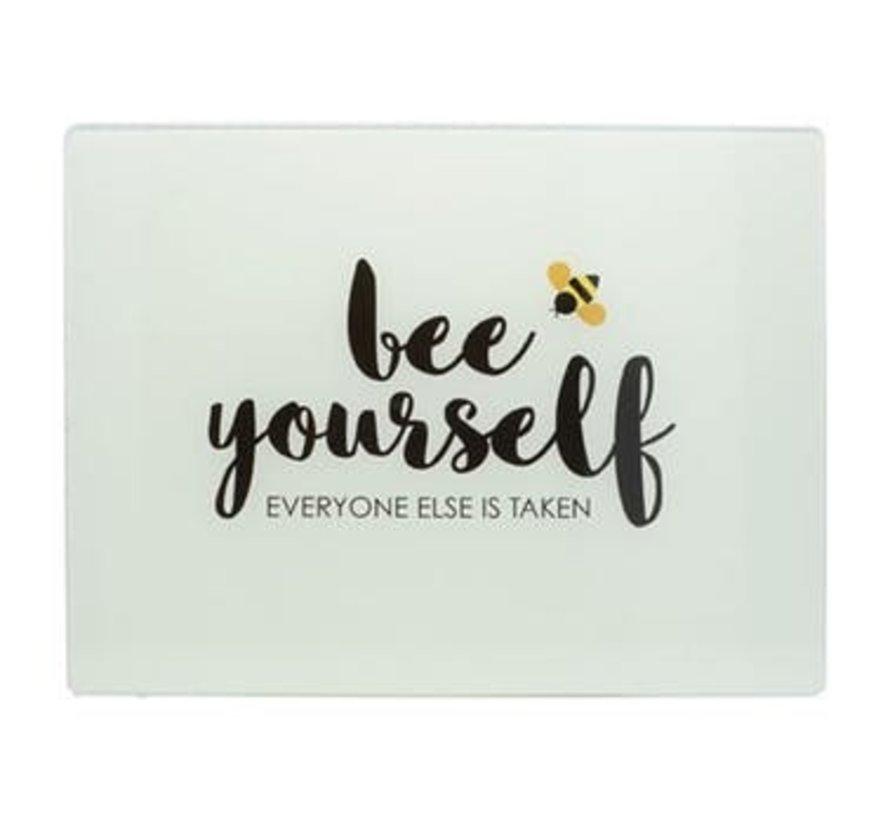 """Glazen werkbladbeschermer  """"bee yourself"""""""
