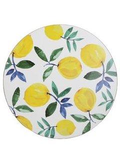 KitchenCraft; Engelse Kwaliteitsprodukten Set van 4 ronde placemats citroenen, lemons