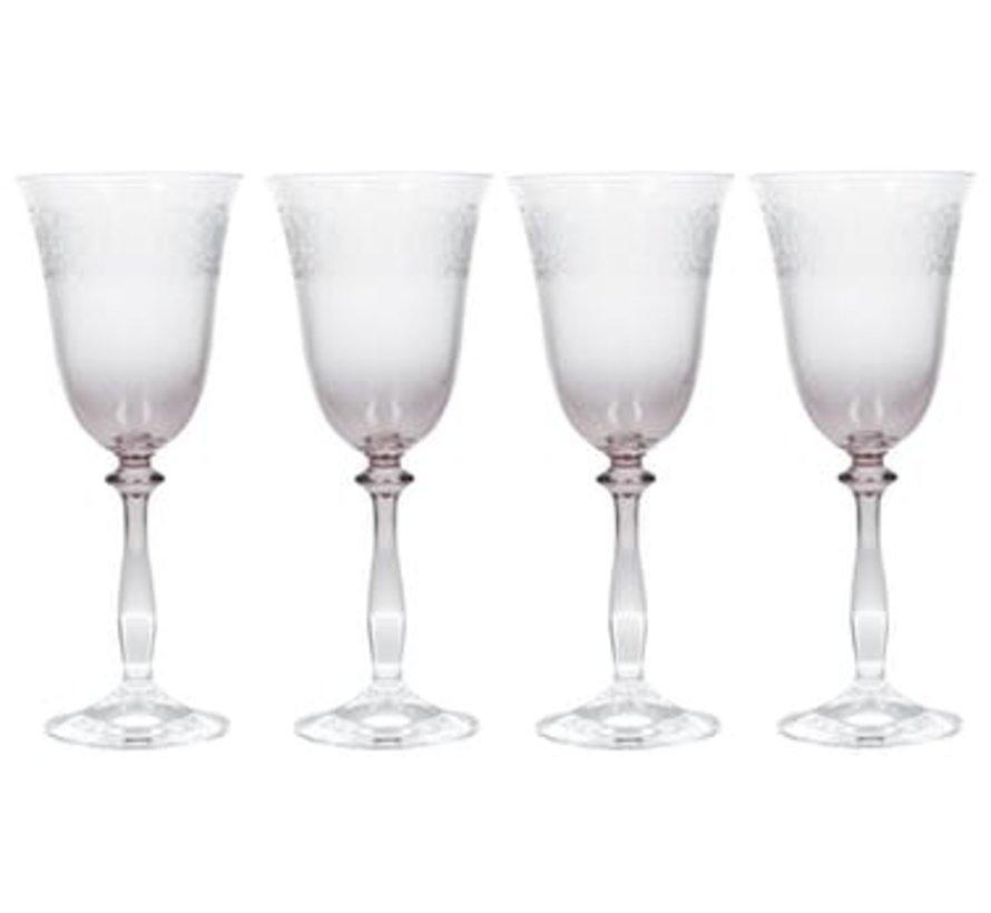 Geslepen wijnglazen, set van 4 stuks