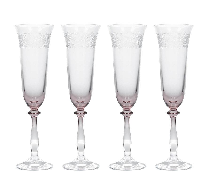 Geslepen champagneglazen, set van 4 stuks