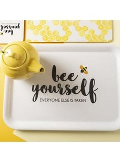 "Zisensa, private collection Unieke woonaccessoires Dienblad melamine wit ""bee yourself"""
