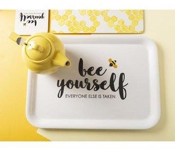 "Zisensa, private collection Unieke woonaccessoires Dienblad wit ""bee yourself"""