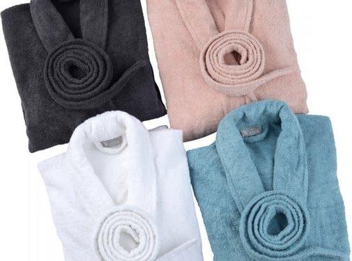 Walra Bed & Badgoed Badjas, Home Robe Mila, antraciet, wit,roze,petrol