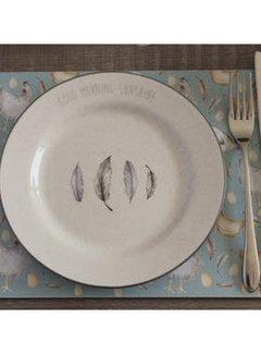 KitchenCraft; Engelse Kwaliteitsprodukten Feather Lane ontbijtbord met veren