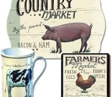 KitchenCraft; Engelse Kwaliteitsprodukten Onderzetter Farmers Market, Kip Set v/6