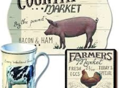 KitchenCraft; Engelse Kwaliteitsprodukten Onderzetter Farmers Market, boerderij, kip