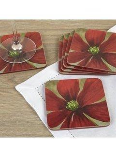 Creative Tops; Engelse Kwaliteitsprodukten Onderzetter Flower Study, bloem rood Set v/6