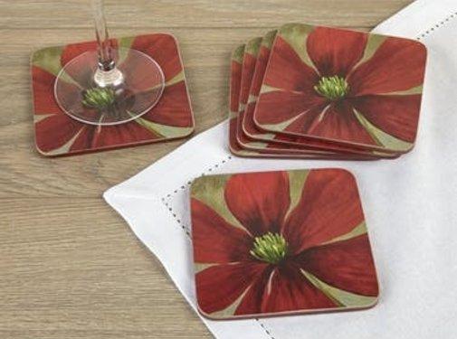 KitchenCraft; Engelse Kwaliteitsprodukten Onderzetter Flower Study, bloem rood Set v/6