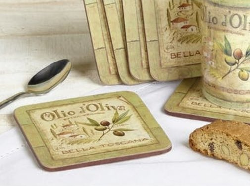 KitchenCraft; Engelse Kwaliteitsprodukten Onderzetters Olio dÓliva, set v/6