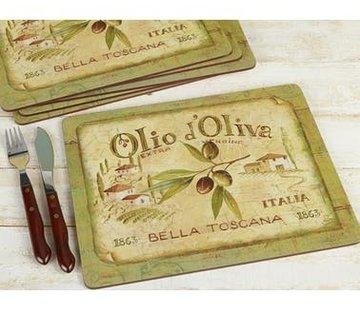 KitchenCraft; Engelse Kwaliteitsprodukten Placemats klein Olio d'Olivia, italie set/6